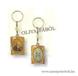 Szent Benedek kulcstartó olivafából
