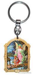 Aranyozott képes faplakett kulcstartó Őrző Angyal