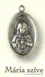 Mária szíve ezüstözött érem