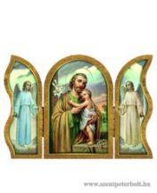 Szent József aranyozott szárnyas faplakett