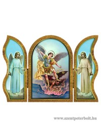 Szent Mihály aranyozott szárnyas faplakett
