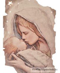 Exkluzív faplakett Mária kis Jézussal