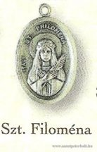 Szent Filoména ezüstözött érem