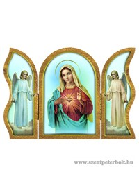 Mária szíve aranyozott szárnyas faplakett
