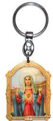 Aranyozott képes faplakett kulcstartó Mária szíve