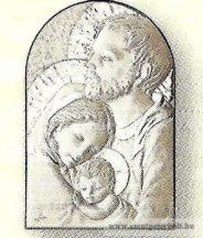 Ezüstözött faplakett Szent Család