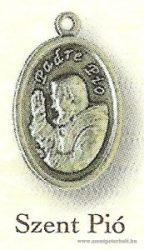 Szent Pio ezüstözött érem