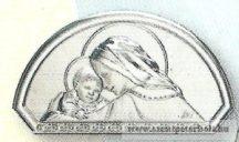 Ezüstözött faplakett-Mária a kis Jézussal