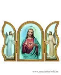 Jézus szíve aranyozott szárnyas faplakett