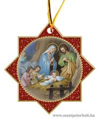 Karácsonyi faplakett 5,8 cm x 5,8 cm