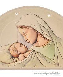 Exkluzív faplakett ezüst és Swarovski díszítéssel-Mária kis Jézus