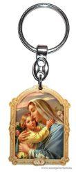 Aranyozott képes faplakett kulcstartó Mária kis Jézussal