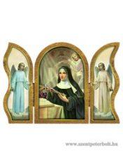 Szent Rita aranyozott szárnyas faplakett