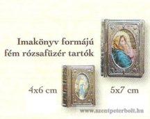 Imakönyv formájú fém rózsafüzér tartók