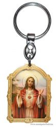 Aranyozott képes faplakett kulcstartó Jézus szíve
