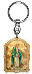 Aranyozott képes faplakett kulcstartó Csodás Mária