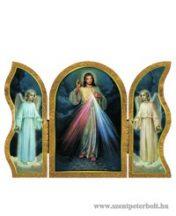 Irgalmas Jézus aranyozott szárnyas faplakett